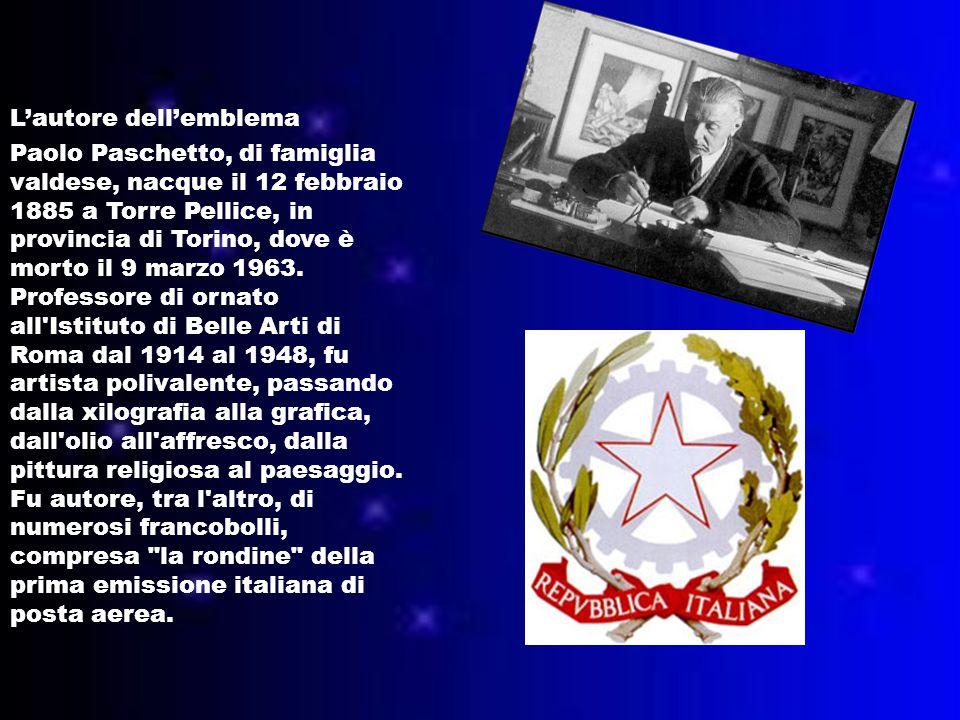 L'autore dell'emblema Paolo Paschetto, di famiglia valdese, nacque il 12 febbraio 1885 a Torre Pellice, in provincia di Torino, dove è morto il 9 marzo 1963.
