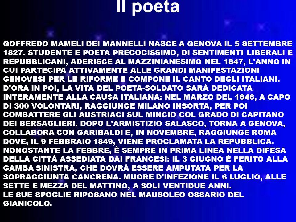 GOFFREDO MAMELI DEI MANNELLI NASCE A GENOVA IL 5 SETTEMBRE 1827.