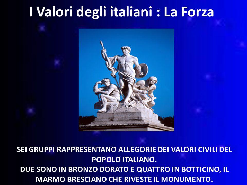 SEI GRUPPI RAPPRESENTANO ALLEGORIE DEI VALORI CIVILI DEL POPOLO ITALIANO.