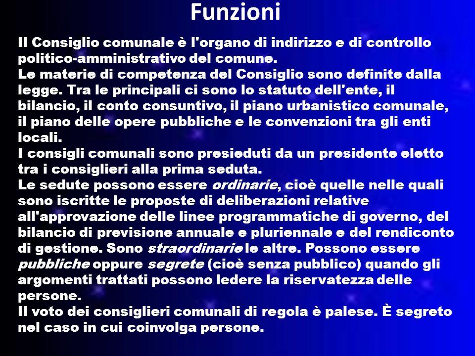 Funzioni Il Consiglio comunale è l organo di indirizzo e di controllo politico-amministrativo del comune.