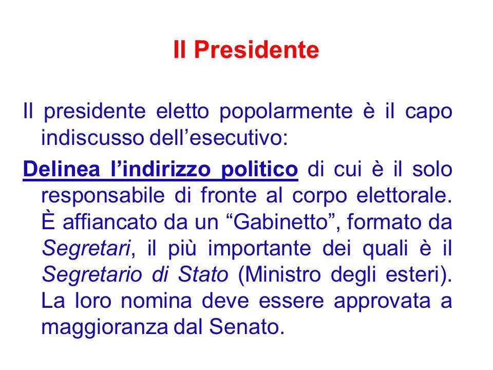 Il Presidente Il presidente eletto popolarmente è il capo indiscusso dell'esecutivo: Delinea l'indirizzo politico di cui è il solo responsabile di fronte al corpo elettorale.