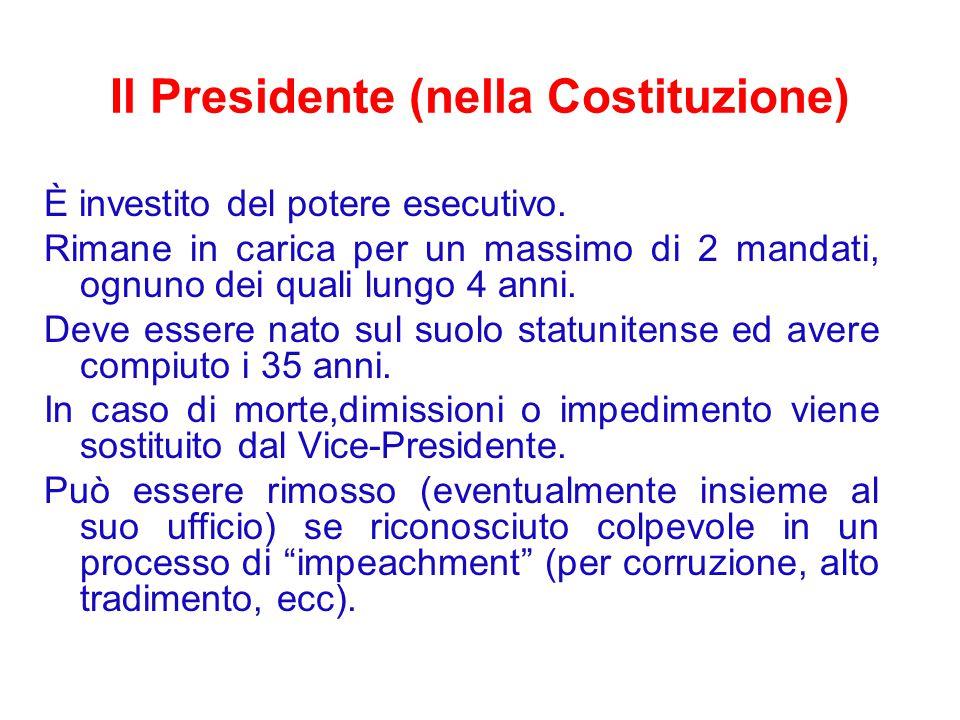 Il Presidente (nella Costituzione) È investito del potere esecutivo.