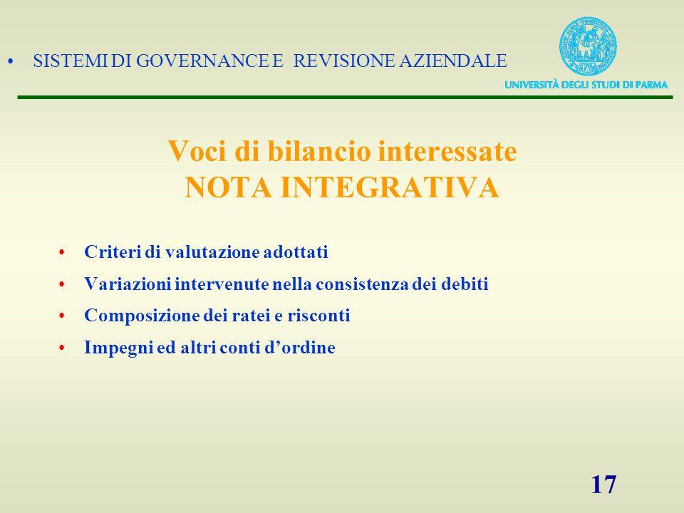 SISTEMI DI GOVERNANCE E REVISIONE AZIENDALE 17 Criteri di valutazione adottati Variazioni intervenute nella consistenza dei debiti Composizione dei ra