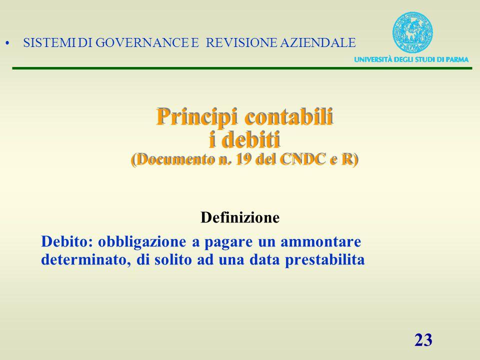 SISTEMI DI GOVERNANCE E REVISIONE AZIENDALE 23 Principi contabili i debiti (Documento n. 19 del CNDC e R) Definizione Debito: obbligazione a pagare un