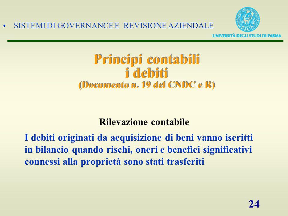 SISTEMI DI GOVERNANCE E REVISIONE AZIENDALE 24 Principi contabili i debiti (Documento n. 19 del CNDC e R) Rilevazione contabile I debiti originati da