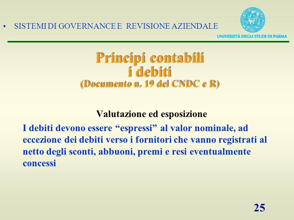 SISTEMI DI GOVERNANCE E REVISIONE AZIENDALE 25 Principi contabili i debiti (Documento n. 19 del CNDC e R) Valutazione ed esposizione I debiti devono e