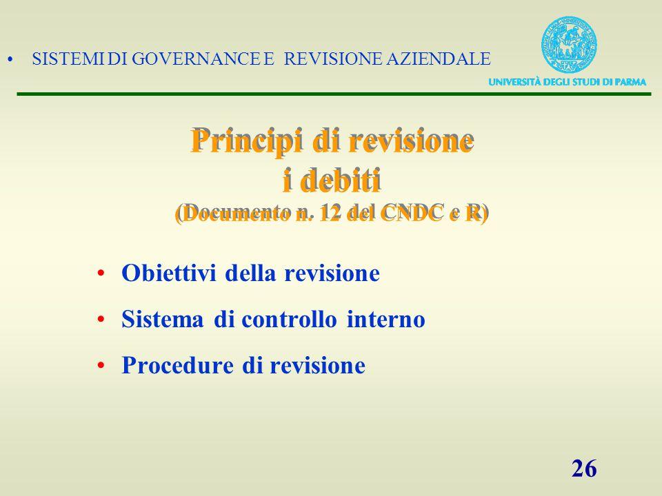 SISTEMI DI GOVERNANCE E REVISIONE AZIENDALE 26 Principi di revisione i debiti (Documento n. 12 del CNDC e R) Obiettivi della revisione Sistema di cont