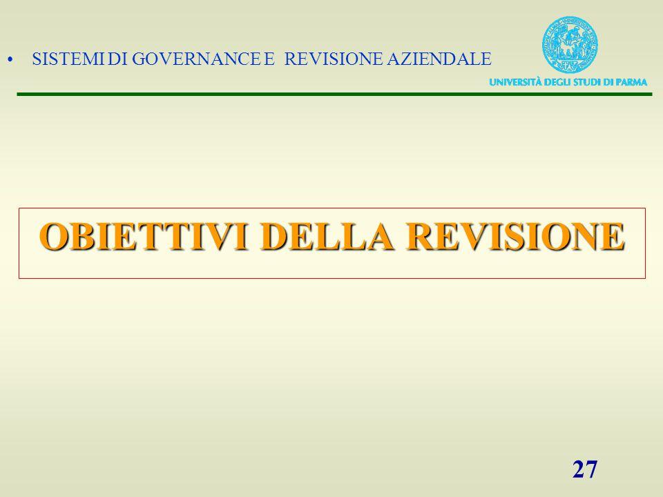 SISTEMI DI GOVERNANCE E REVISIONE AZIENDALE 27 OBIETTIVI DELLA REVISIONE