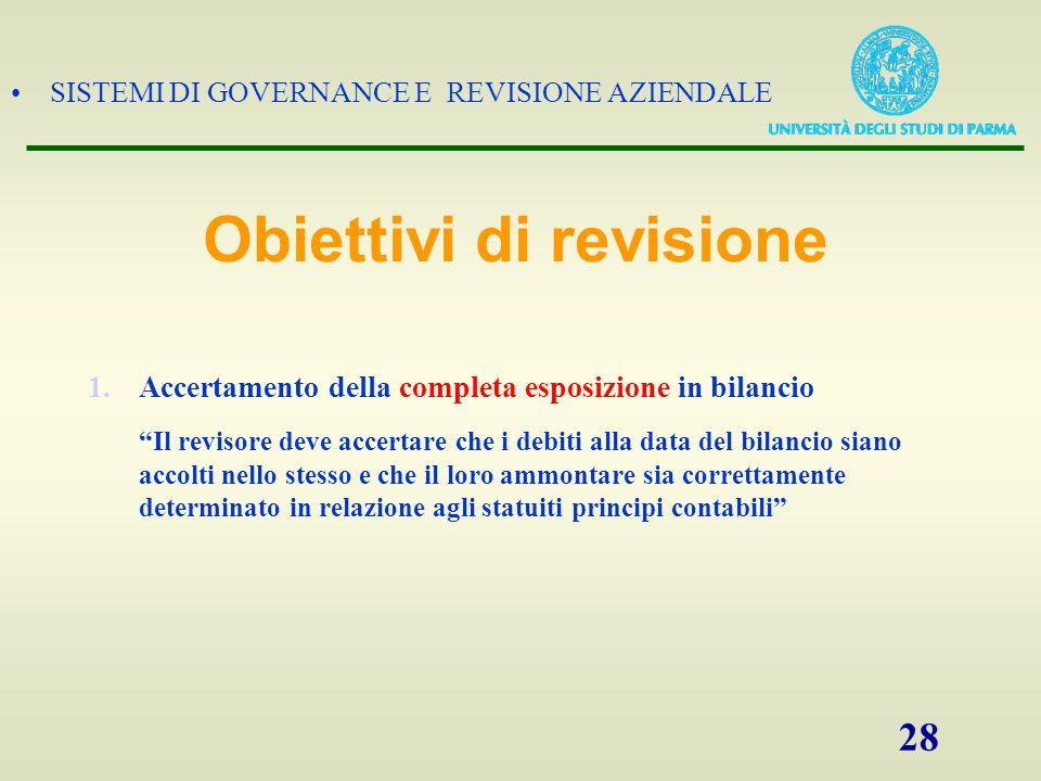 """SISTEMI DI GOVERNANCE E REVISIONE AZIENDALE 28 1.Accertamento della completa esposizione in bilancio """"Il revisore deve accertare che i debiti alla dat"""