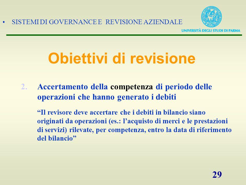 """SISTEMI DI GOVERNANCE E REVISIONE AZIENDALE 29 2.Accertamento della competenza di periodo delle operazioni che hanno generato i debiti """"Il revisore de"""