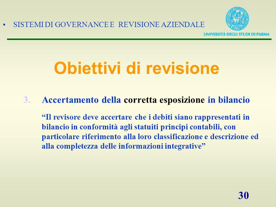"""SISTEMI DI GOVERNANCE E REVISIONE AZIENDALE 30 3.Accertamento della corretta esposizione in bilancio """"Il revisore deve accertare che i debiti siano ra"""