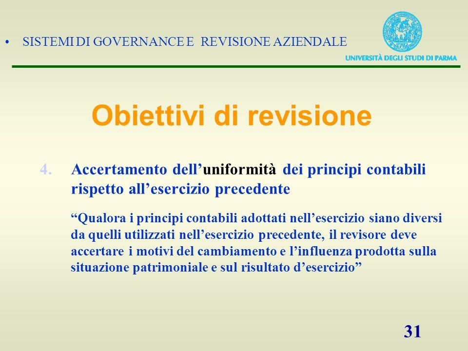 """SISTEMI DI GOVERNANCE E REVISIONE AZIENDALE 31 4.Accertamento dell'uniformità dei principi contabili rispetto all'esercizio precedente """"Qualora i prin"""