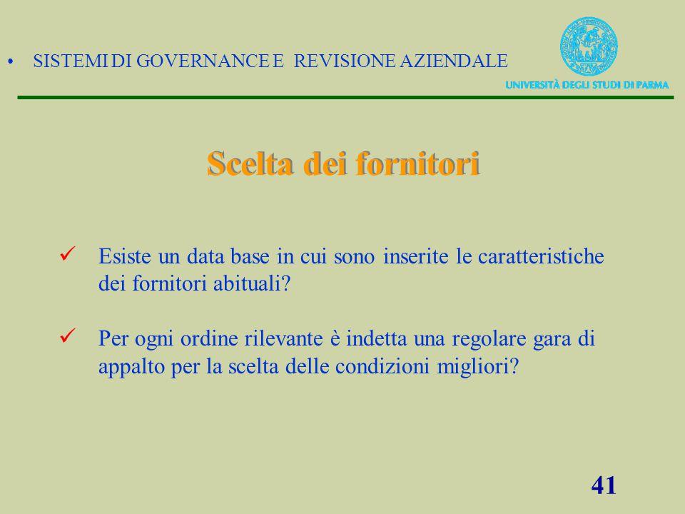 SISTEMI DI GOVERNANCE E REVISIONE AZIENDALE 41 Scelta dei fornitori Esiste un data base in cui sono inserite le caratteristiche dei fornitori abituali
