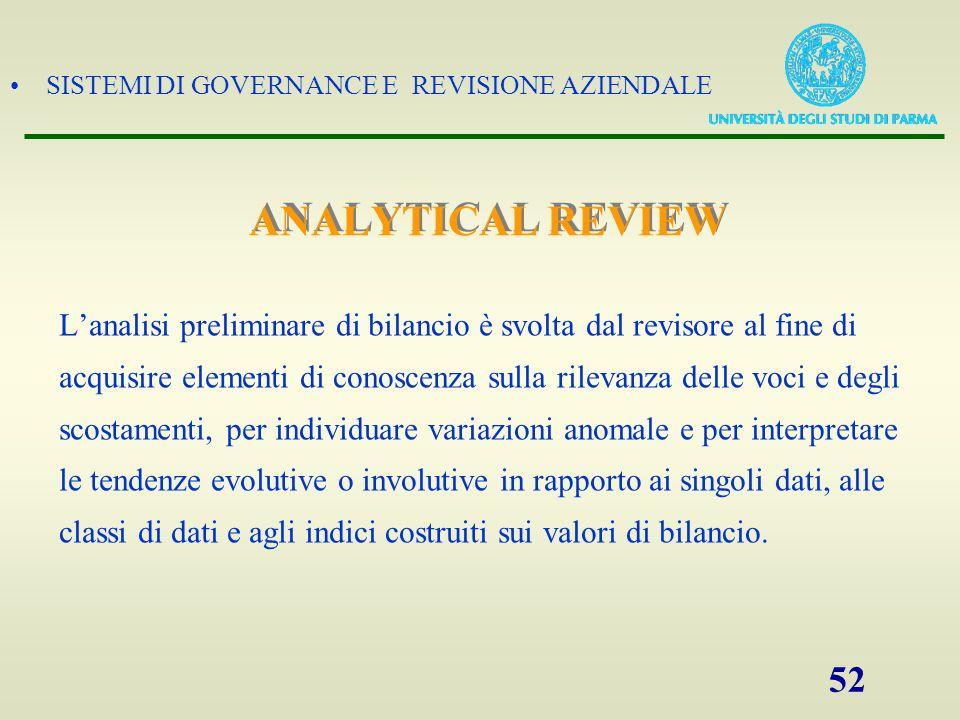 SISTEMI DI GOVERNANCE E REVISIONE AZIENDALE 52 L'analisi preliminare di bilancio è svolta dal revisore al fine di acquisire elementi di conoscenza sul