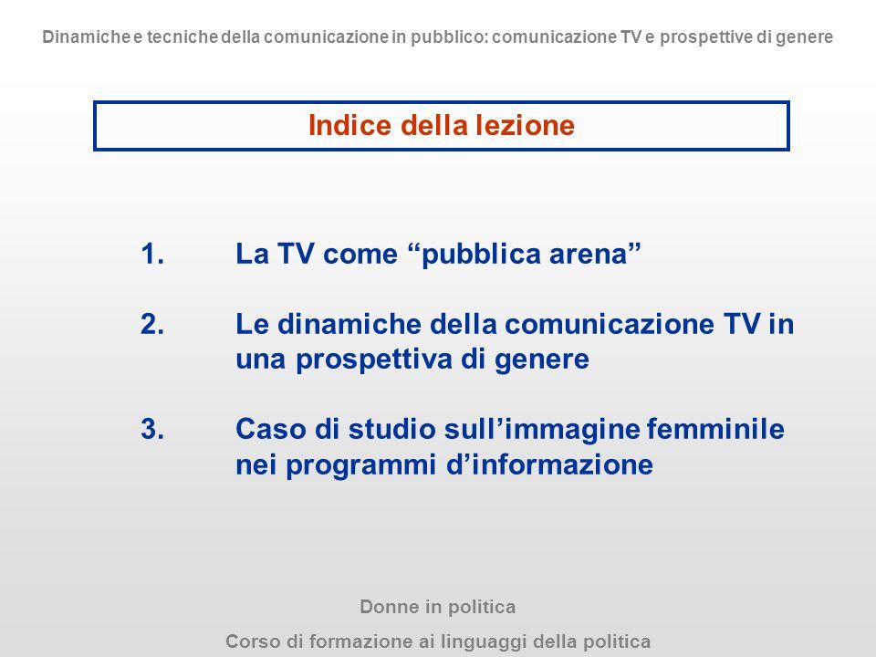 """1.La TV come """"pubblica arena"""" 2.Le dinamiche della comunicazione TV in una prospettiva di genere 3.Caso di studio sull'immagine femminile nei programm"""