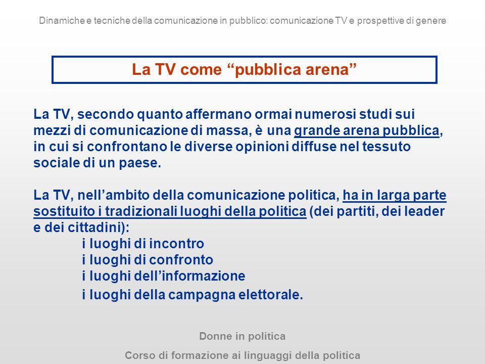 La TV, secondo quanto affermano ormai numerosi studi sui mezzi di comunicazione di massa, è una grande arena pubblica, in cui si confrontano le divers