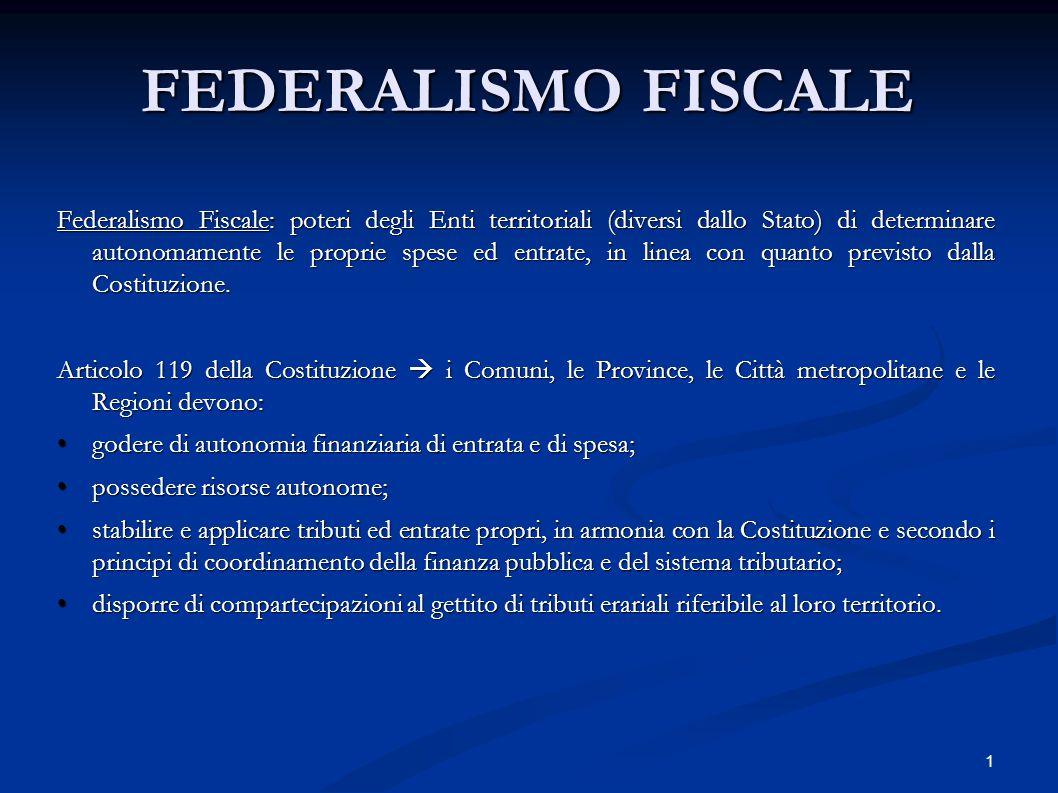 1 FEDERALISMO FISCALE Federalismo Fiscale: poteri degli Enti territoriali (diversi dallo Stato) di determinare autonomamente le proprie spese ed entra