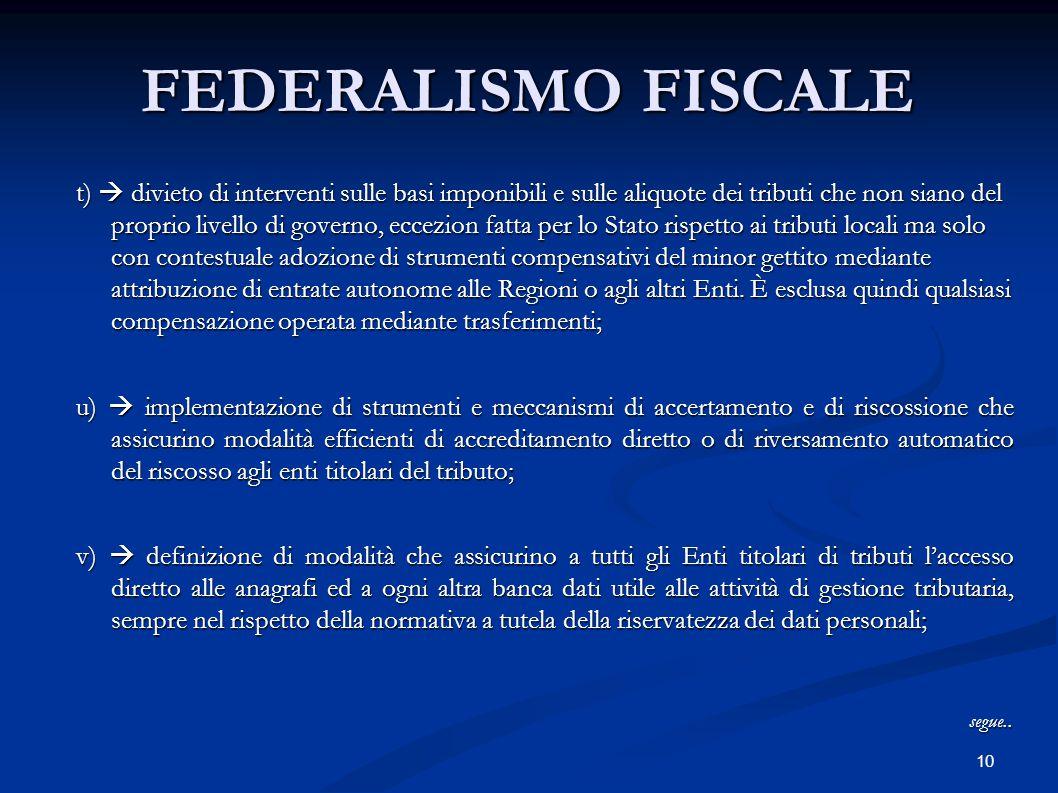 10 FEDERALISMO FISCALE t)  divieto di interventi sulle basi imponibili e sulle aliquote dei tributi che non siano del proprio livello di governo, ecc