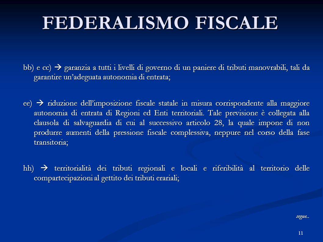 11 FEDERALISMO FISCALE bb) e cc)  garanzia a tutti i livelli di governo di un paniere di tributi manovrabili, tali da garantire un'adeguata autonomia