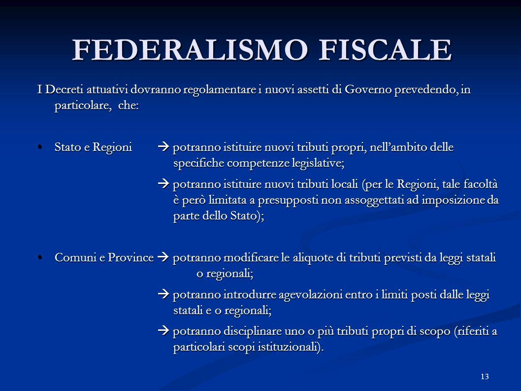 13 FEDERALISMO FISCALE I Decreti attuativi dovranno regolamentare i nuovi assetti di Governo prevedendo, in particolare, che: Stato e Regioni  potran
