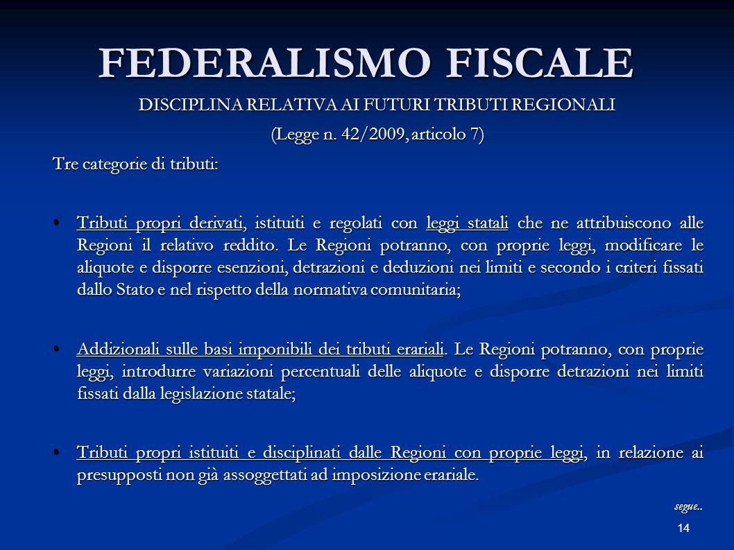 14 FEDERALISMO FISCALE DISCIPLINA RELATIVA AI FUTURI TRIBUTI REGIONALI (Legge n. 42/2009, articolo 7) Tre categorie di tributi: Tributi propri derivat