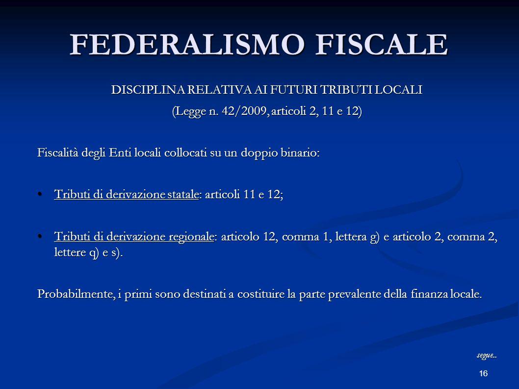 16 FEDERALISMO FISCALE DISCIPLINA RELATIVA AI FUTURI TRIBUTI LOCALI (Legge n. 42/2009, articoli 2, 11 e 12) Fiscalità degli Enti locali collocati su u