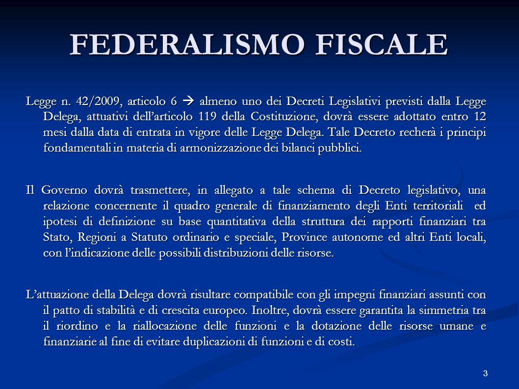 3 FEDERALISMO FISCALE Legge n. 42/2009, articolo 6  almeno uno dei Decreti Legislativi previsti dalla Legge Delega, attuativi dell'articolo 119 della