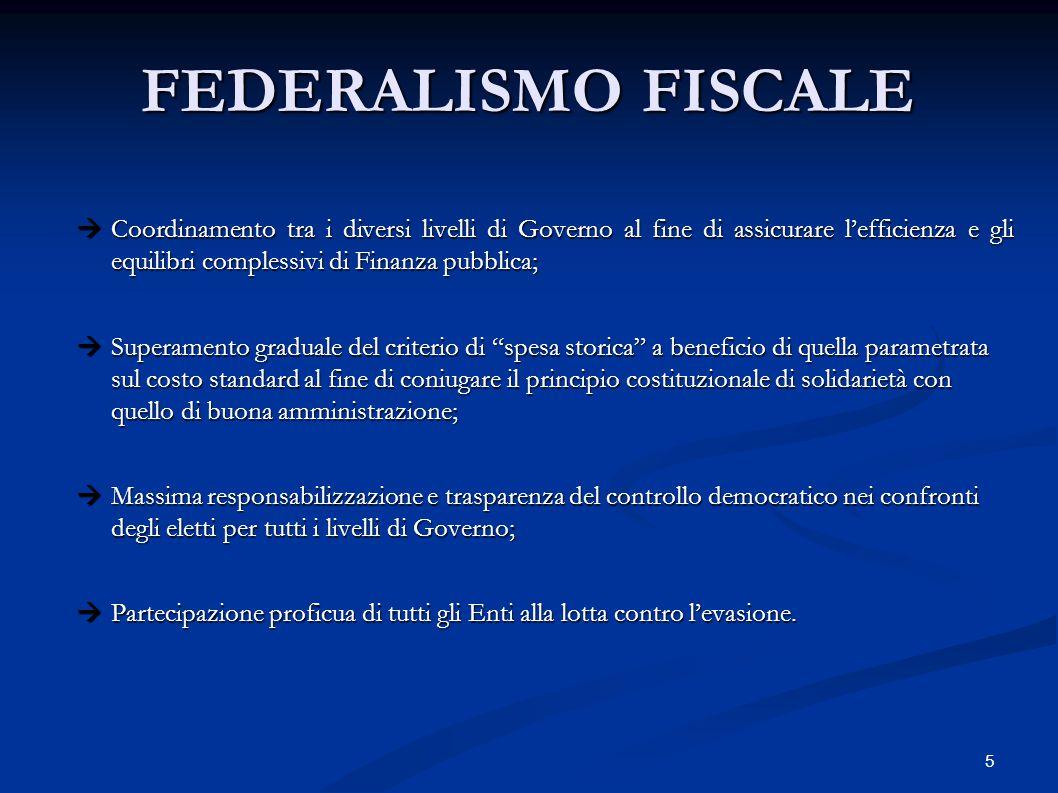 16 FEDERALISMO FISCALE DISCIPLINA RELATIVA AI FUTURI TRIBUTI LOCALI (Legge n.
