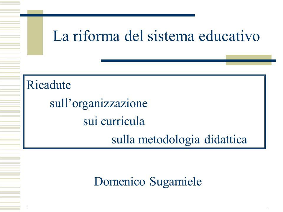 Domenico Sugamiele Ciofs-FMA 3-4 gennaio 20061 La riforma del sistema educativo Ricadute sull'organizzazione sui curricula sulla metodologia didattica Domenico Sugamiele