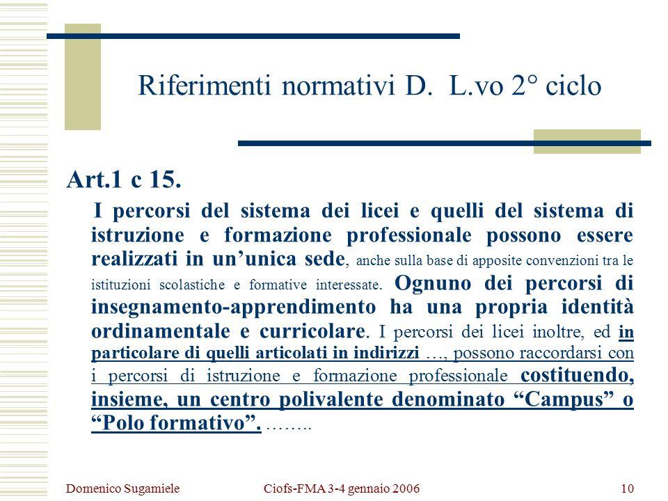 Domenico Sugamiele Ciofs-FMA 3-4 gennaio 200610 Riferimenti normativi D.