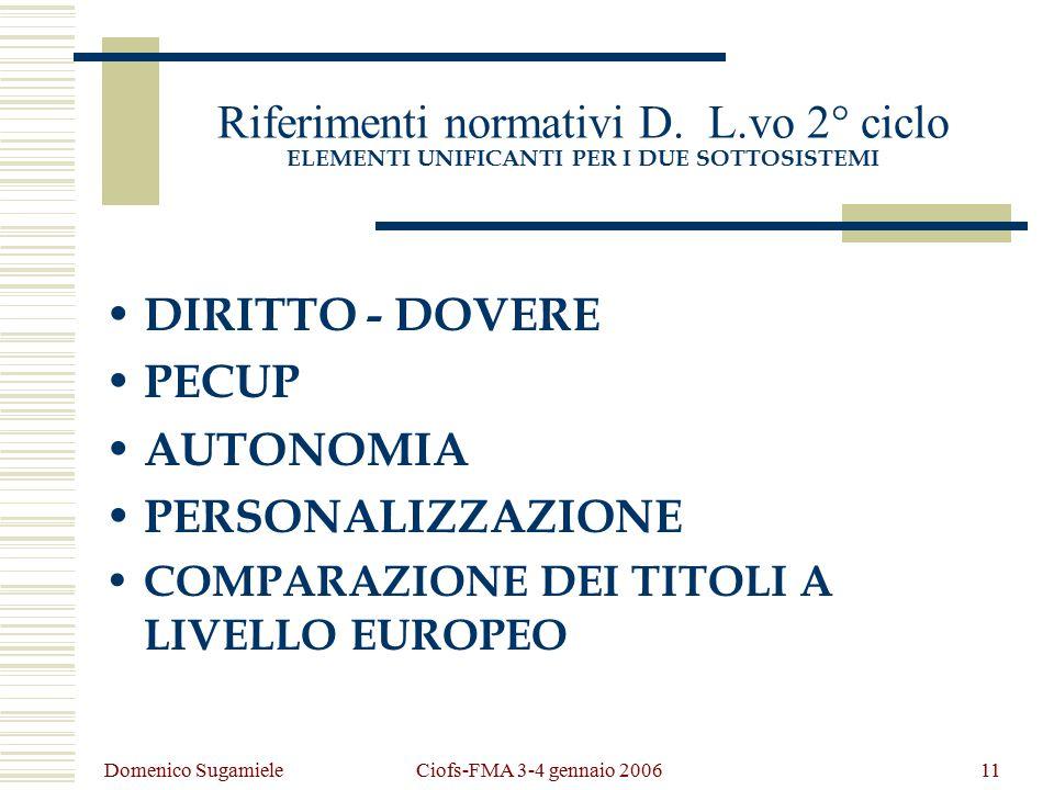 Domenico Sugamiele Ciofs-FMA 3-4 gennaio 200611 Riferimenti normativi D.