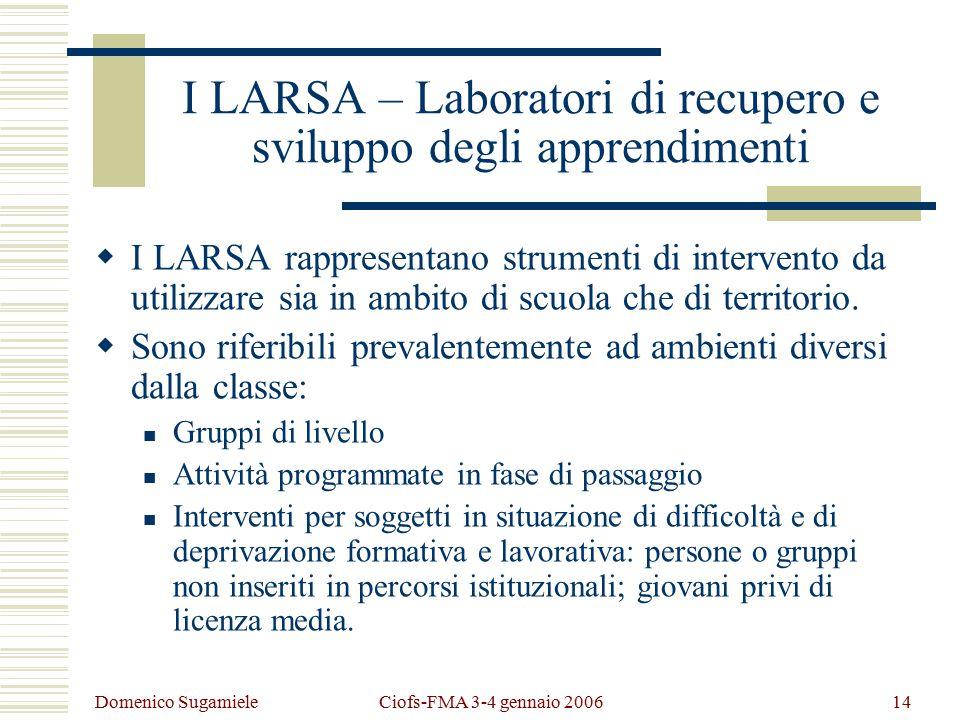 Domenico Sugamiele Ciofs-FMA 3-4 gennaio 200614 I LARSA – Laboratori di recupero e sviluppo degli apprendimenti  I LARSA rappresentano strumenti di intervento da utilizzare sia in ambito di scuola che di territorio.
