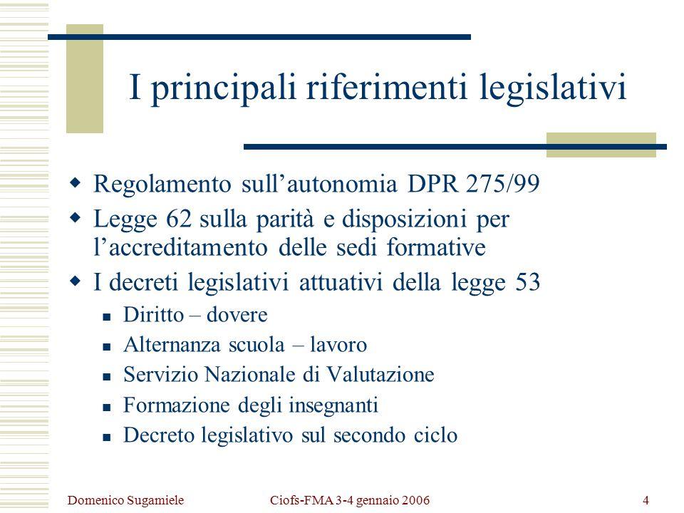 Domenico Sugamiele Ciofs-FMA 3-4 gennaio 20065 Risvolti normativi dei D.