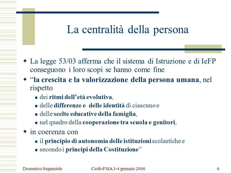 Domenico Sugamiele Ciofs-FMA 3-4 gennaio 20067 La flessibilità  Rendere effettivo il diritto all'istruzione e alla formazione per almeno dodici anni, fino al diciottesimo anno di età.