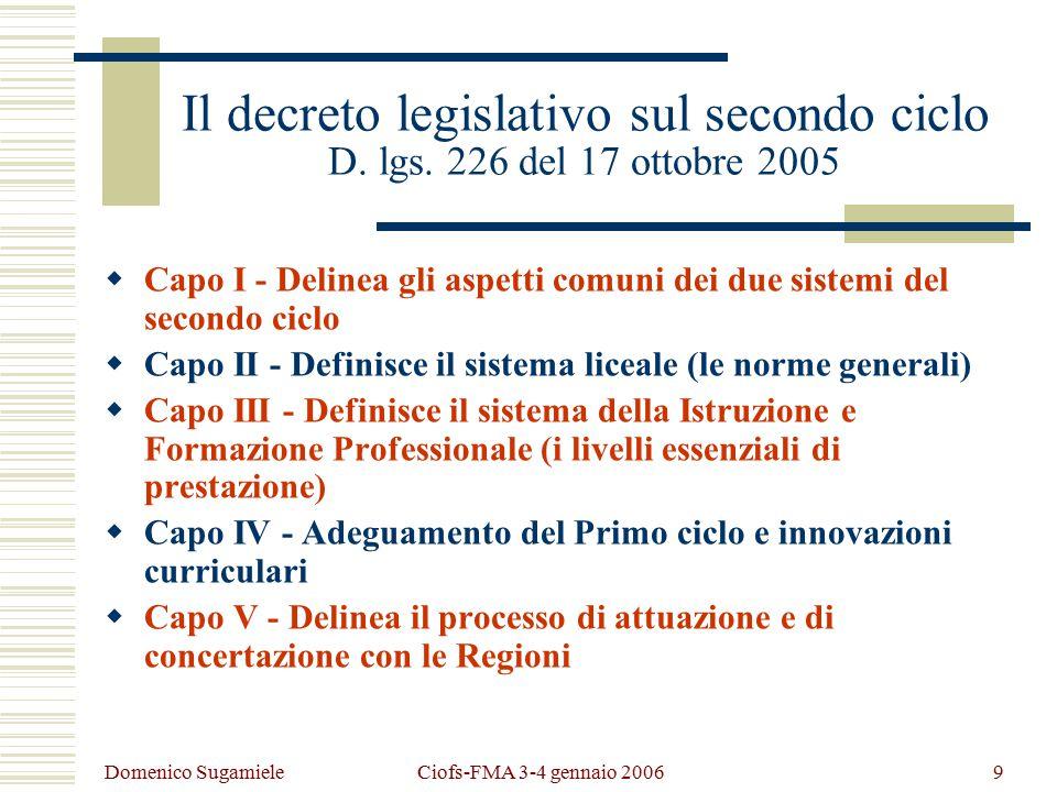 Domenico Sugamiele Ciofs-FMA 3-4 gennaio 20069 Il decreto legislativo sul secondo ciclo D.