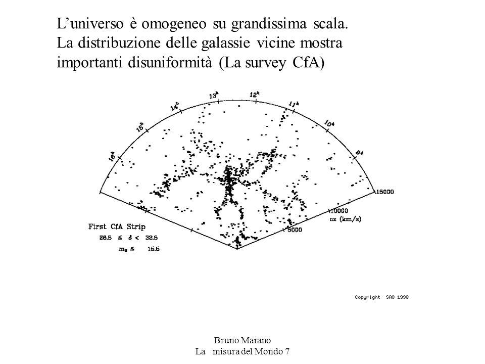 Bruno Marano La misura del Mondo 7 L'universo è omogeneo su grandissima scala. La distribuzione delle galassie vicine mostra importanti disuniformità