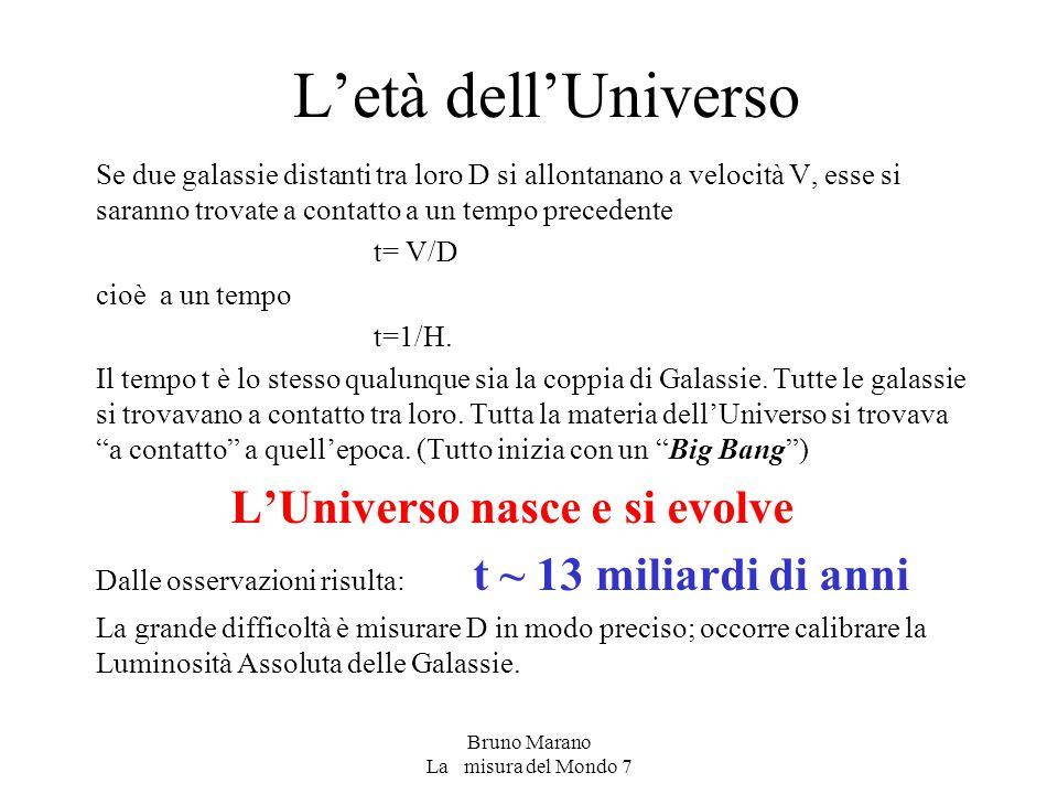 Bruno Marano La misura del Mondo 7 L'età dell'Universo Se due galassie distanti tra loro D si allontanano a velocità V, esse si saranno trovate a contatto a un tempo precedente t= V/D cioè a un tempo t=1/H.