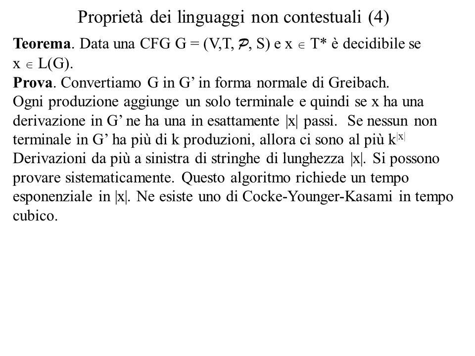 Proprietà dei linguaggi non contestuali (4) Teorema. Data una CFG G = (V,T, P, S) e x  T* è decidibile se x  L(G). Prova. Convertiamo G in G' in for
