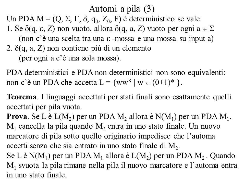Automi a pila (3) Un PDA M = (Q, , , , q 0, Z 0, F) è deterministico se vale: 1. Se  (q, , Z) non vuoto, allora  (q, a, Z) vuoto per ogni a  