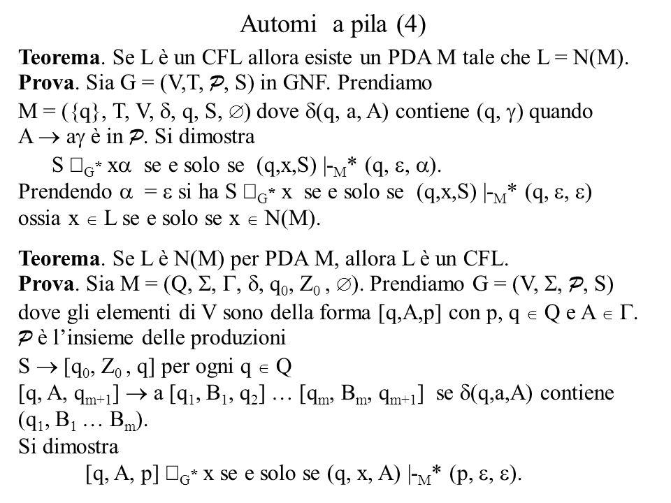 Automi a pila (4) Teorema. Se L è un CFL allora esiste un PDA M tale che L = N(M). Prova. Sia G = (V,T, P, S) in GNF. Prendiamo M = ({q}, T, V, , q,