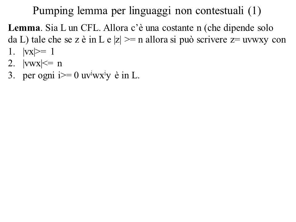 Pumping lemma per linguaggi non contestuali (1) Lemma. Sia L un CFL. Allora c'è una costante n (che dipende solo da L) tale che se z è in L e |z| >= n