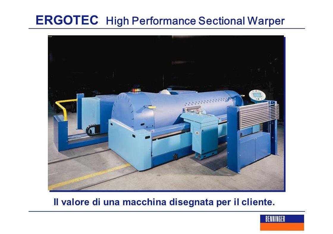 ERGOTEC High Performance Sectional Warper Qualità di orditura Benninger:  La rotazione in senso inverso dell'aspo garantisce un perfetto controllo della sezione.