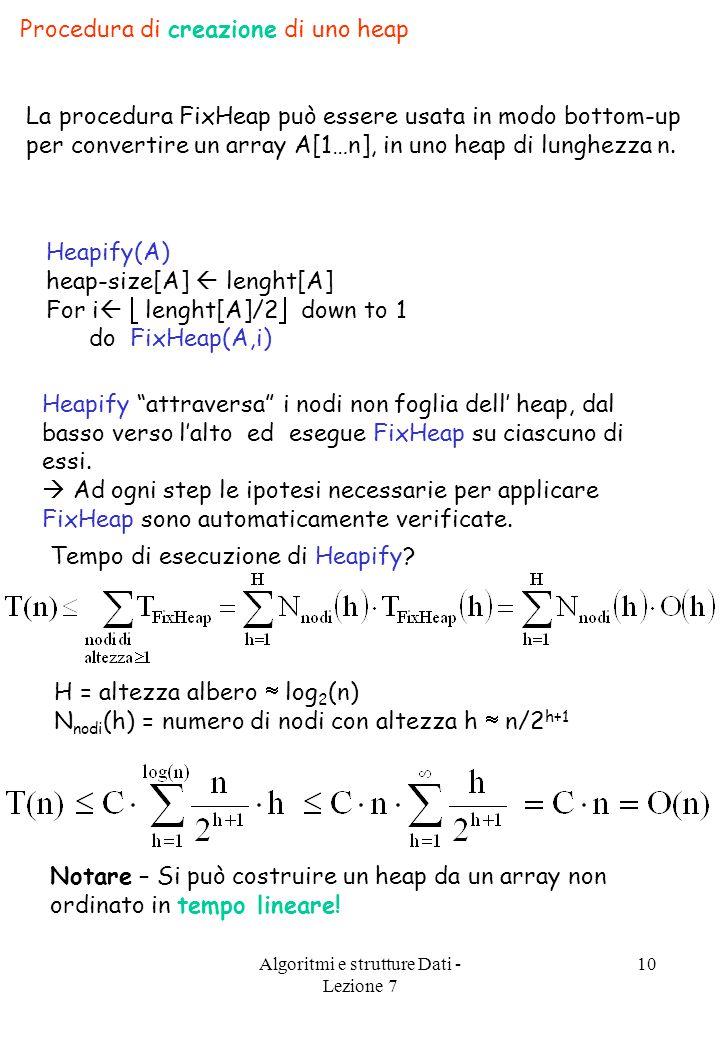 Algoritmi e strutture Dati - Lezione 7 10 Procedura di creazione di uno heap La procedura FixHeap può essere usata in modo bottom-up per convertire un array A[1…n], in uno heap di lunghezza n.