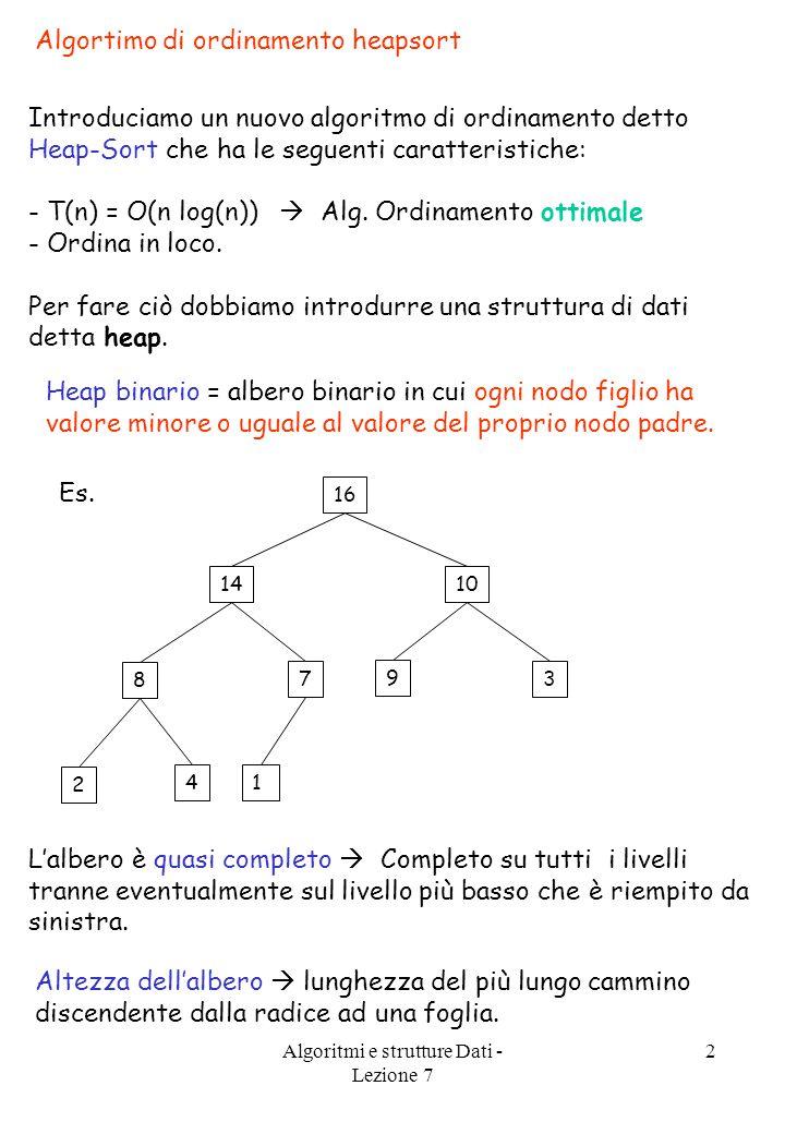 Algoritmi e strutture Dati - Lezione 7 2 Algortimo di ordinamento heapsort Introduciamo un nuovo algoritmo di ordinamento detto Heap-Sort che ha le seguenti caratteristiche: - T(n) = O(n log(n))  Alg.