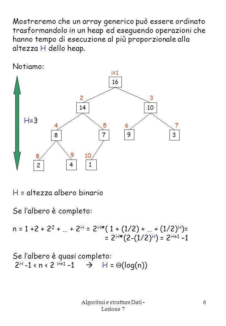 Algoritmi e strutture Dati - Lezione 7 6 Mostreremo che un array generico può essere ordinato trasformandolo in un heap ed eseguendo operazioni che hanno tempo di esecuzione al più proporzionale alla altezza H dello heap.