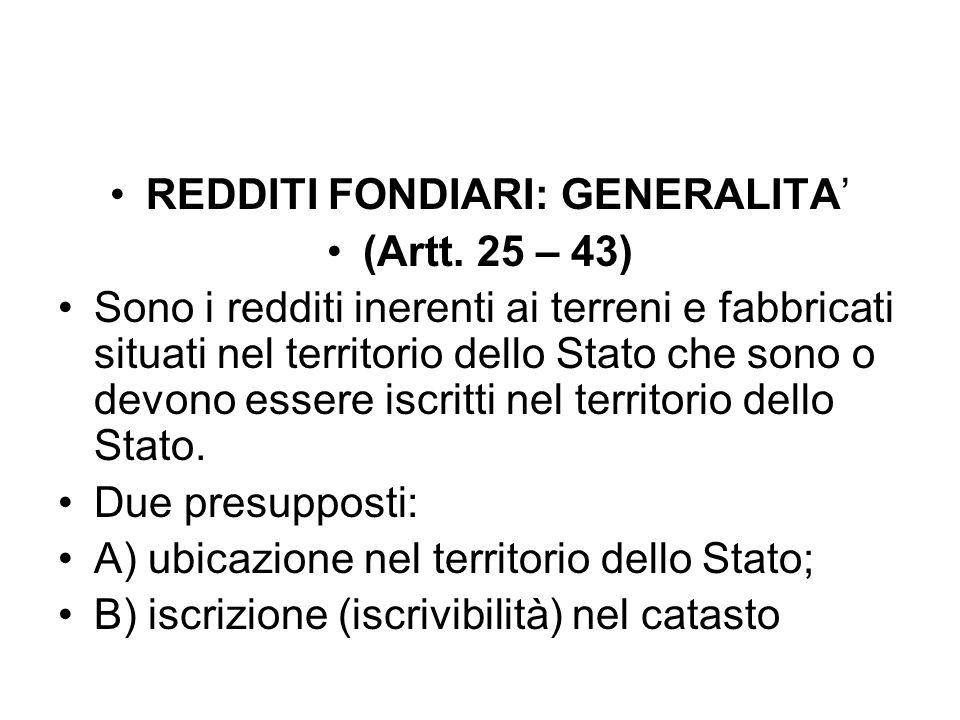 REDDITI FONDIARI: GENERALITA' (Artt.