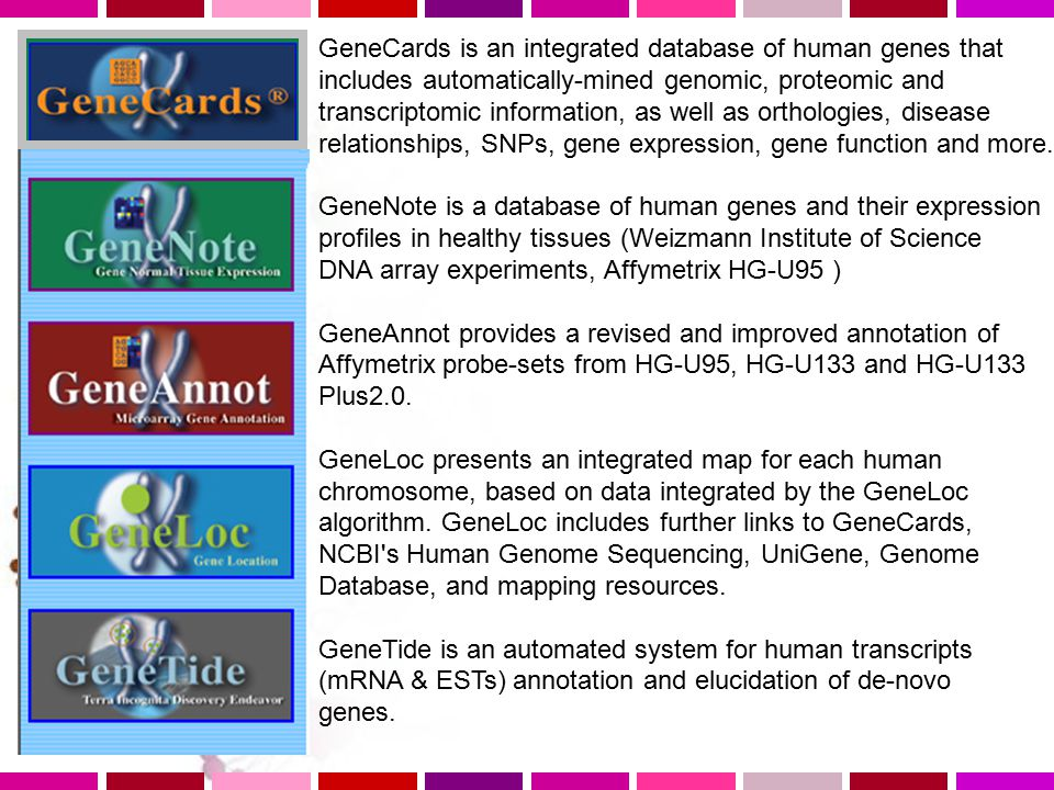 GeneCards is an integrated database of human genes that includes automatically-mined genomic, proteomic and transcriptomic information, as well as orthologies, disease relationships, SNPs, gene expression, gene function and more.