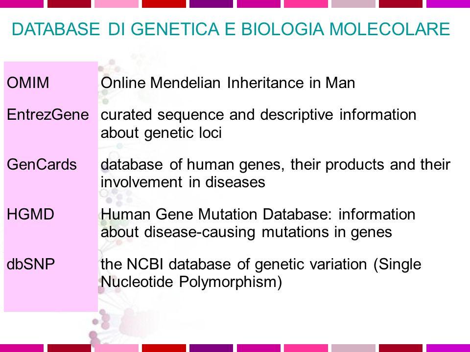 DATABASE DI GENETICA E BIOLOGIA MOLECOLARE OMIM http://www.ncbi.nlm.nih.gov/entrez/query.fcgi?db=OMIM EntrezGene http://www.ncbi.nlm.nih.gov/entrez/query.fcgi?CMD=search&DB=gene GenCards http://bioinformatics.weizmann.ac.il/cards/ HGMD http://www.hgmd.cf.ac.uk/ac/index.php dbSNP http://www.ncbi.nlm.nih.gov/projects/SNP/