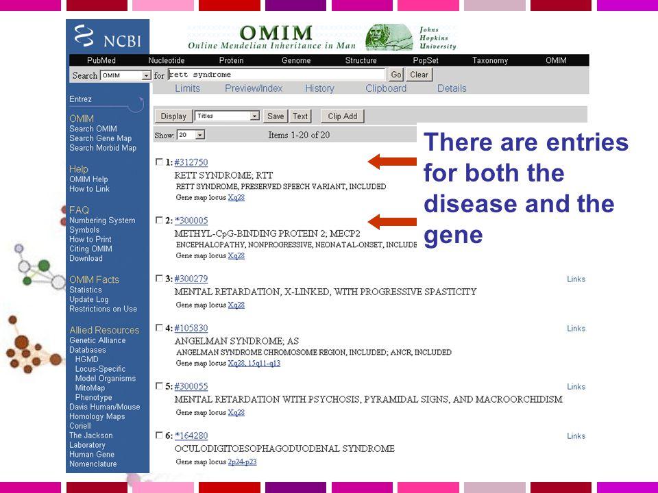 Link to NCBI map viewer OMIM number