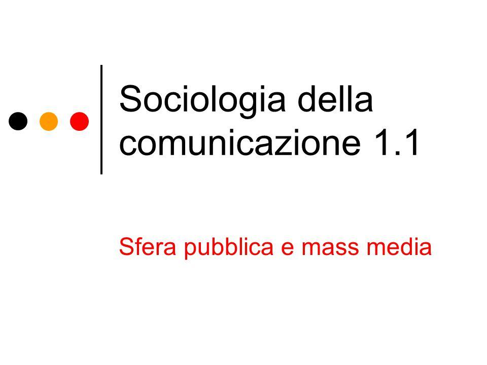 Sociologia della comunicazione 1.1 Sfera pubblica e mass media